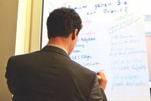 Ein Mann schreibt an einem Flipchart-Papier, das am Fenster klebt