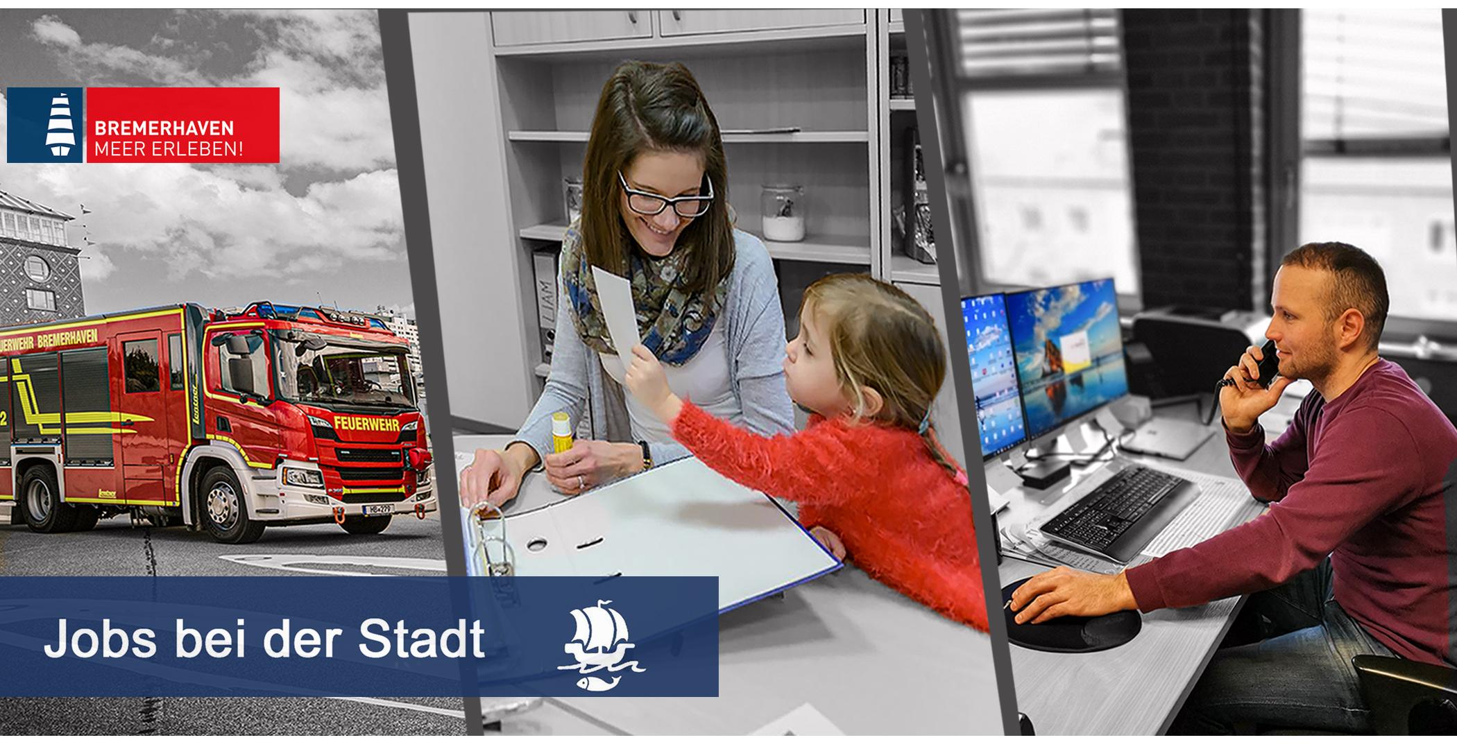 Dreigeteiltes Bild: ein Feuerwehrfahrzeug; eine Frau mit Kind im Büro; ein Mann am Schreibtisch, der telefoniert